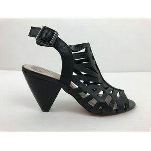 Vince Camuto Black Leather Peep Toe Heel Sandal 7